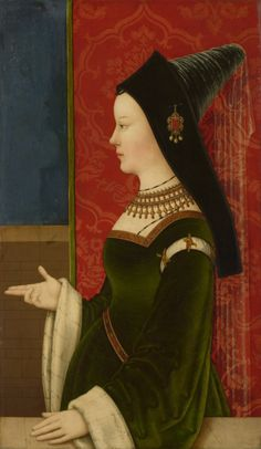 Niklas Reiser (fl 1498-1512) — Portrait of Mary of Burgundy, c.1500 : The Kunsthistorisches Museum, Vienna. Austria https://hemmahoshilde.wordpress.com/2015/07/26/mary-of-burgundy-bewitched/ <--- You're welcome to read more about Mary of Burgundy's hats on my art blog :).