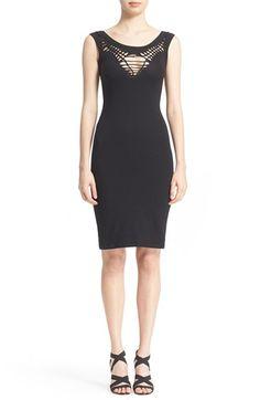 Fuzzi Braided Detail Cutout Stretch Jersey Dress