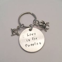 Love is For Puppies Hand Stamped Dog/Cat Pet Tag - Inspired by Black Widow Natasha Romanoff Marvel Avengers Clintasha #blackwidow #natasharomanoff #clintbarton #hawkeye #clintasha #stamped #keychain #pettag