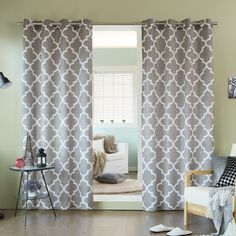 Aurora Home Velvet Moroccan Print Grommet Top 84-inch Curtain Panel Pair (Grey), Size 52 x 84