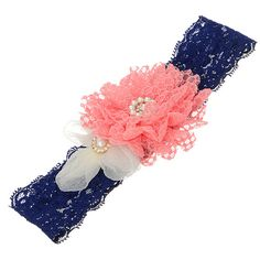 Royal blue lace headband featuring a pink by HalliesCreations14 $14