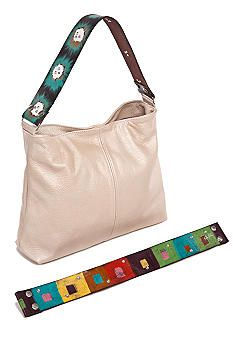 Sophie Bag with interchangeable straps! Hand painted straps by Katie Kalsi. Tres chic.