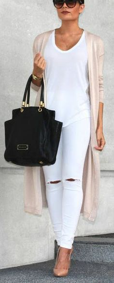 All white outfit + blush cardigan.