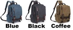 Unique Multi Zippers Square Multifunction Shoulder Bag Canvas College Boy's Backpack