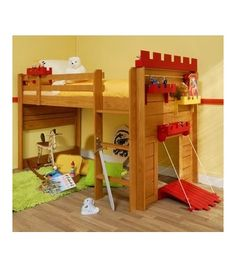 Boys castle bed with a draw bridge. So neat