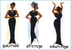Solitude, Attitude and Gratitude Magnet by Cidne Wallace | The Black Art Depot