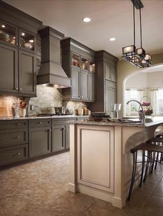 Sage w/Cocoa Glaze by KraftMaid Cabinetry, via Flickr - - - need to decide what to do with the walls to pull it all together