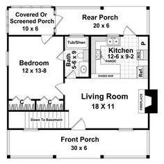 1 Bedroom House Plans, Basement House Plans, Cottage House Plans, Cottage Homes, Small Cottage House, Cottage Style, Guest Cottage Plans, 20x30 House Plans, Backyard Cottage