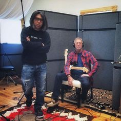 Hiroshi Fujiwara and EC working on some new music together.