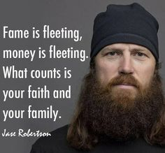 What counts is faith and family.