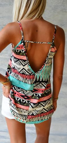 Lovely colorful print tank fashion