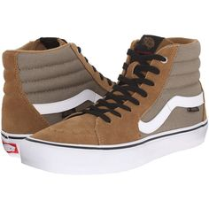 Vans SK8-Hi Pro (Covert Green/White) Men's Skate Shoes ($46) ❤ liked on Polyvore featuring men's fashion, men's shoes, men's sneakers, brown, vans mens shoes, mens brown leather sneakers, mens green shoes, mens white shoes and mens shoes