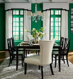 We're seeing green today with lovely drapery and top treatments to complement the bold walls. Window Cornices, Window Coverings, Valances, Window Treatments, Drapery Styles, Dining Chairs, Dining Room, Drapery Panels, Windows