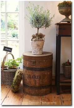 salvaged barrel crate for a sidetable