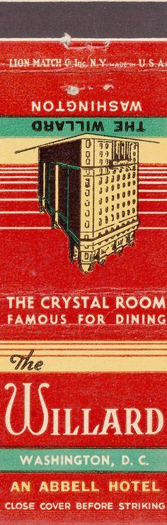 Willard Hotel matchbook cover, 1950s