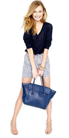 navy and white - love the bag. If the shorts were a pencil skirt, this would be a cute casual Friday outfit.