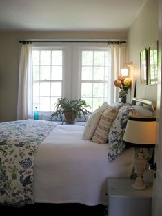 Love this look for a small master bedroom.
