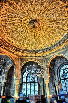 Gorgeous Moorish interior of the Central Post Office (Grande Poste), Algiers, Algeria.