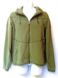Rei Mens Green Full Zip Pile Fleece Lightweight Jacket Hooded Sweater M Nice | eBay