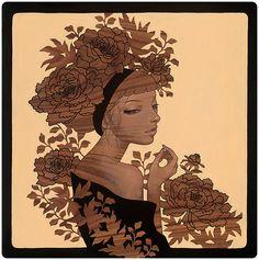 "Audrey Kawasaki - ""Perhaps"" oil, graphite, and ink on wood panel 12""x12"" Thinkspace Gallery SCOPE Miami Beach Art Fair 2013"