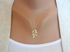 Leafy Branch in Gold