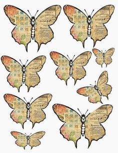 How to make vintage-style paper butterflies - Give Details Free Digital Scrapbooking, Papel Vintage, Vintage Paper, Butterfly Crafts, Butterfly Art, Butterfly Mobile, Illustrations Vintage, Paper Butterflies, Paper Tags