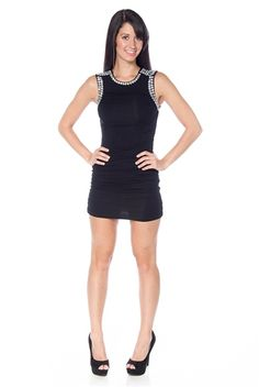 A Gem of an Evening Jeweled Cinched Dress - Black