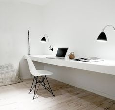 white floating desk work space