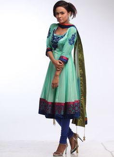 Refreshing Aqua Green Anarkali Suit