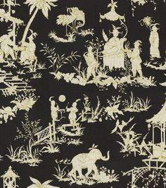 For custom curtain panels. Waverly Print Fabric-Canton Bazaar /Ebony