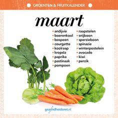 Groenten en fruitkalender - maart Healthy Recepies, Vegan Recipes, Fruits And Vegetables, Veggies, Good Food, Yummy Food, Seasonal Food, Food Trends, Superfood