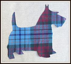 1x 6 1/2 in. Sc6. Large Scottie Dog, Multi-coloured Tartan, Wool Fabric,Cut Out, Iron On, Appliqué by Nairncraft on Etsy £3.00 plus P&P.#scottie #dogs #scotland #scottish