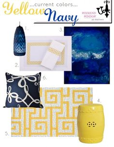 Navy & Yellow Accessories for our master bedroom