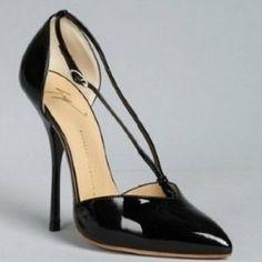 Giuseppe Zanotti Black Patent Leather Pointed Toe Center Strap Stilettos