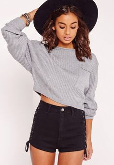 Missguided - Ribbed Batwing Crop Jumper Grey