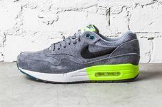 "Nike Air Max 1 Premium ""Grey/Volt"" http://www.sprhuman.com/2013/12/nike-air-max-1-premium-greyvolt/"