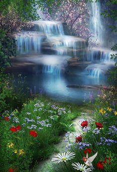Waterfall Flowers Green Grass Photo Backdrop G-018 - 6.5'W*10'H(2*3m)