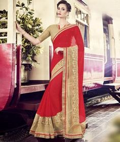 Buy Red Chiffon Party Wear Saree 77930 with blouse online at lowest price from vast collection of sarees at Indianclothstore.com.