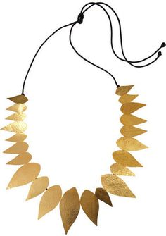 Herv Van der Straeten Bali hammered 24 karat gold plated leaf necklace