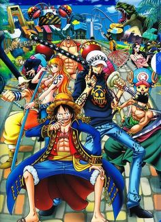 Straw Hat Pirates crew and Trafalgar D. Water Law, Monkey D. Luffy, Tony Tony Chopper, Roronoa Zoro, Sanji, Brook, Usopp, Nami, Franky, Nico Robin One piece