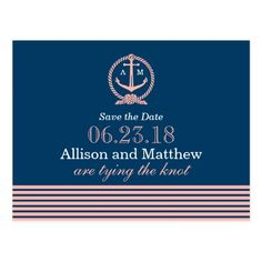 Wedding Save the Date | Nautical Navy and Coral Postcard