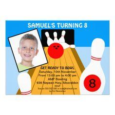 Boys Bowling Birthday Party Invitation