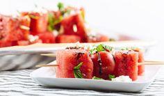 Watermelon and Cherry Tomato Skewers with Balsamic Glaze // gluten-free, vegetarian