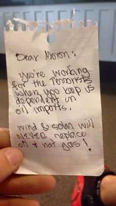 Found this note on my car in response to an anti fracking bumper sticker