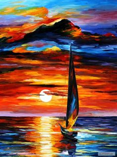 TOWARDS THE SUN — PALETTE KNIFE Oil Painting On Canvas By Leonid Afremov