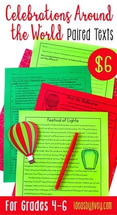 Use these paired passages with your students to integrate high-interest, engaging informational passages about the Festivals of Lights that occur in Thailand, Taiwan, and China compared to the International Balloon Fiesta in the US; a pair all about Diwali and the food and clothing traditions; and a pair about Dia de los Muertos (Day of the Dead) and Catrina: the icon of the holiday. #pairedtexts #readingactivities #fourthgrade #fifthgrade #sixthgrade