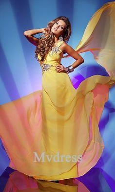 Homecoming Dresses#A-Line #Yellow Dress #One-Shoulder #Chiffon Dress