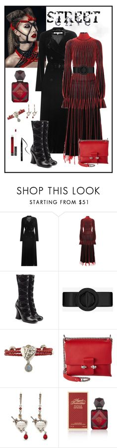 """""""Alexander McQueen Pleated Silk Dress Look"""" by romaboots-1 ❤ liked on Polyvore featuring Alexander McQueen, Marc Jacobs, Yves Saint Laurent, Agent Provocateur and Kat Von D"""