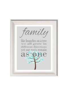 Family art print family quote family wall