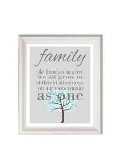 Family art print family quote family wall